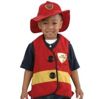 "Constructive Playthings 16"" L. x 15"" W. Fire Fighter Toddler Dress-Up Vest and Hat with Easy Slip-On with Hook and Loop Side Tabs and Sturdy Wipe-Clean Fabric for Ages 18 Months and Up"