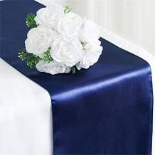 Tiger Chef 3-Pack Navy Blue 12 x 108 inches Long Satin Table Runner for Wedding, Table Runners fit Rectange and Round Table Decorations for Birthday Parties, Banquets, Graduations, Engagements