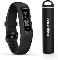 Garmin vivosmart 4 (Black/Midnight - Large) Smart Activity Tracker Power Bundle   +PlayBetter Portable Charger   Fitness Activity Tracker   Heart Rate