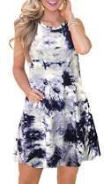 elescat Summer Dresses for Women Tie Dye Beach Tshirt Sundress Sleeveless Pockets Casual Loose Tank Dress (Tie Dye BK,M)