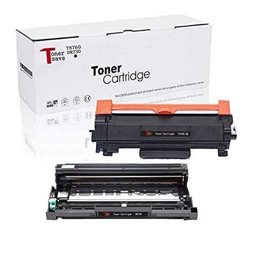 TonerSave Compatible TN760 Toner DR730 Drum for Brother MFC-L2710DW Drum HL-L2350DW MFC-L2750DW DCP L2550DW HL-L2390DW HL-L2395DW HL-L2350DW MFC-L2750DWXL MFC-L2730DW HL-L2370DWXL TN-760 Toner