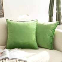 MIULEE Pack of 2 Decorative Velvet Throw Pillow Cover Soft Pillowcase Solid Square Cushion Case for Sofa Bedroom Car St. Patrick's Day 16x16 Inch Apple Green