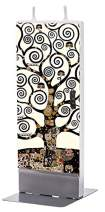 Flatyz Hand Painted Flat Candle  Unscented, Dripless, Smokeless, Decorative   Klimt – Tree of Life   Double Wick with Metal Base   Unique Gift Idea and Home Décor Accent