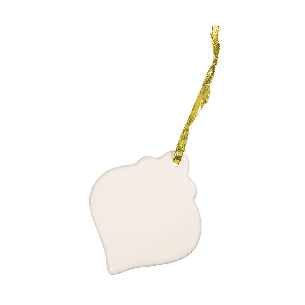 Craft County Ceramic Ornaments – Ready to Paint – Holiday Ornaments for The Christmas Tree – Ribbon Included for Hanging (Spindle, 6 Pack)