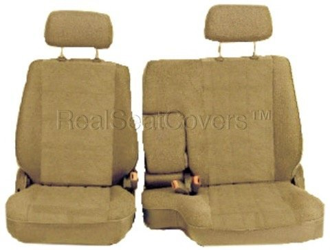 RealSeatCovers for Front 60/40 Split Bench A57 Triple Stitched Thick Custom Made Seat Cover for Toyota Pickup 1990-1995 Exact Fit (Beige Tan)