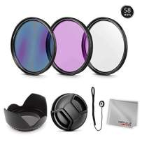 Zeikos 58MM Multi-Coated UV-CPL-FLD Professional Lens Filter Kit, Tulip Flower Lens Hood, Lens Cap and Lens Cap Keeper with Pouch and Miracle Fiber Microfiber Cloth