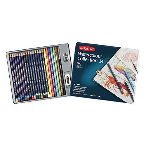 Derwent Colored Pencils, Watercolor, Water Color Pencils, Drawing, Art, Metal Tin, 24 Count (0700304)