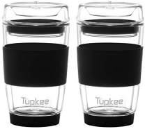 Tupkee Double Wall Glass Tumbler - 8-Ounce, All Glass Reusable Insulated Tea/Coffee Mug & Lid, Hand Blown Glass Travel Mug - Black - 2 Pack