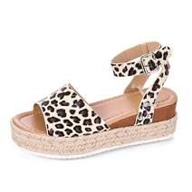 Milky Way Womens Espadrilles Sandals Wedges Sandal Open Toe Ankle Strap Casual Trendy Platform Sandals Flats (Leopard Pattern,8.5 M US)