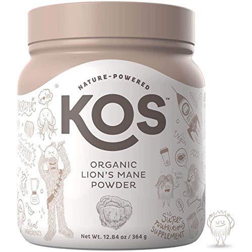 KOS Organic Lion's Mane Powder - Memory Improving Nootropic Lion's Mane Powder - Promotes Immunity, Cerebral & Nerve Health - USDA Organic Plant Based Ingredient, 364g, 104 Servings