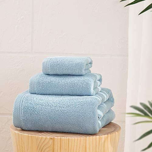 LOVO Bath Towel Set of 3 100% Cotton Hand Face Luxury Soft Towel, Light Blue