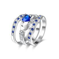 Uloveido Female Blue Love Heart Friendship Ring - Bridal Silver Color Stacking Wedding Engagement Rings Set - Best Promise Rings for Her HR314-8