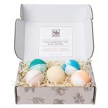 Soapbox Bath Bomb Gift Set with 5 Therapeutic Scents, Handcrafted and Infused with Sunflower Oil and Shea Butter, 5 Extra Large Individually Wrapped Bath Bombs for Women, 4.5 Ounces Each