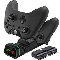 Xbox One X Slim Controller Charger, GYORGKSHI Dual Console Charging Dock Station Stand with 2 x 800mAh Rechargeable Battery Packs for Xbox One X Slim Elite Controllers