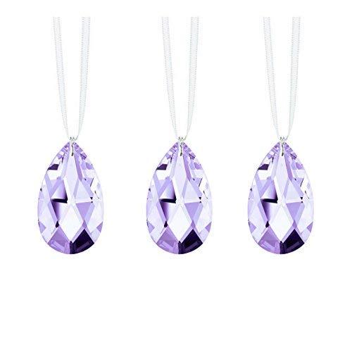 Swarovski Strass Crystal Prism Set 3, Lilac Almond Prisms Hanging Drop Pendants Wedding Decoration