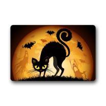 """FUNNY KIDS' HOME Halloween Doormats/Decorations/Bats Moon Scary Cat Durable Machine-Washable Indoor/Outdoor Door Mat 23.6""""(L) x 15.7""""(W) Inch"""