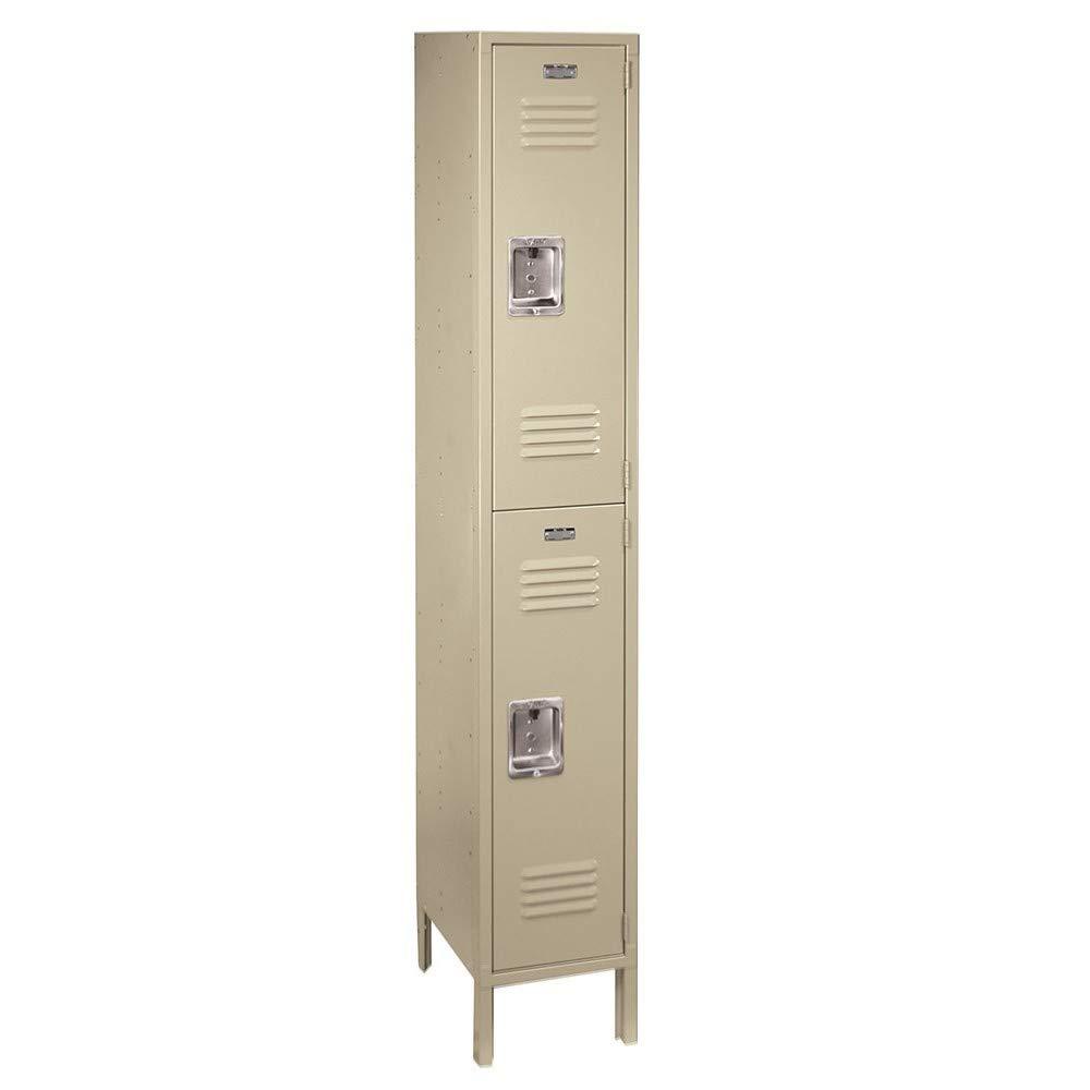 "ValTec Double Tier 1 Wide 12"" W x 18"" D x 78"" H Unassembled Metal Locker PPVT52061-2 Doors - Putty - Steel Construction - Free Number Plates!"