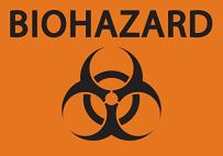 "ZING 1912S Eco Safety Sign, Biohazard, Recycled Polystyrene Self Adhesive, 7"" H x 10"" W, Black on Orange"