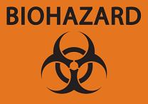"""ZING 1912A Eco Safety Sign, Biohazard, Recycled Aluminum, 7"""" H x 10"""" W, Black on Orange"""