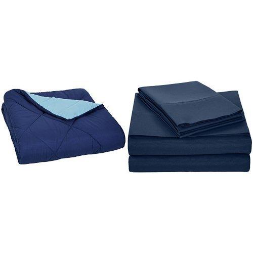 AmazonBasics Navy Blue Comforter (Full/Queen) and Navy Blue Sheet Set (Queen)