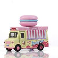 ROMIRUS Street Treats Food Truck for Kids ice Cream cart Die Cast Plastic Toy hot Dog Sushi Cola Banana Pizza Ice Cream Macaron Burger 1:36 Scale Die-cast Fast Food Car Toy with Sounds and Lights