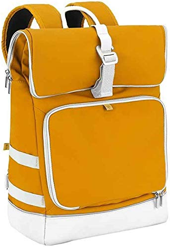 Babymoov Sancy Diaper Bag Backpack | Unisex Back Pack With Heavy Duty Roll-Top Closure, Large Insulated Compartment, Changing Pad And Accessories, Saffron Yellow