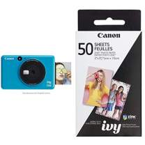 Canon IVY CLIQ Instant Camera Printer Mobile Mini Printe, Seaside Blue with Canon ZINK Photo Paper Pack, 50 Sheets