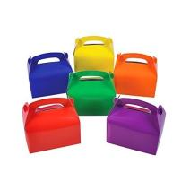 Adorox (6 x 3.5 x 3.25, Assorted 12Pk Large Lightweight Assorted Bright Rainbow Colors Cardboard Favor Boxes Treat Goody Bags Birthday Party Event Gift