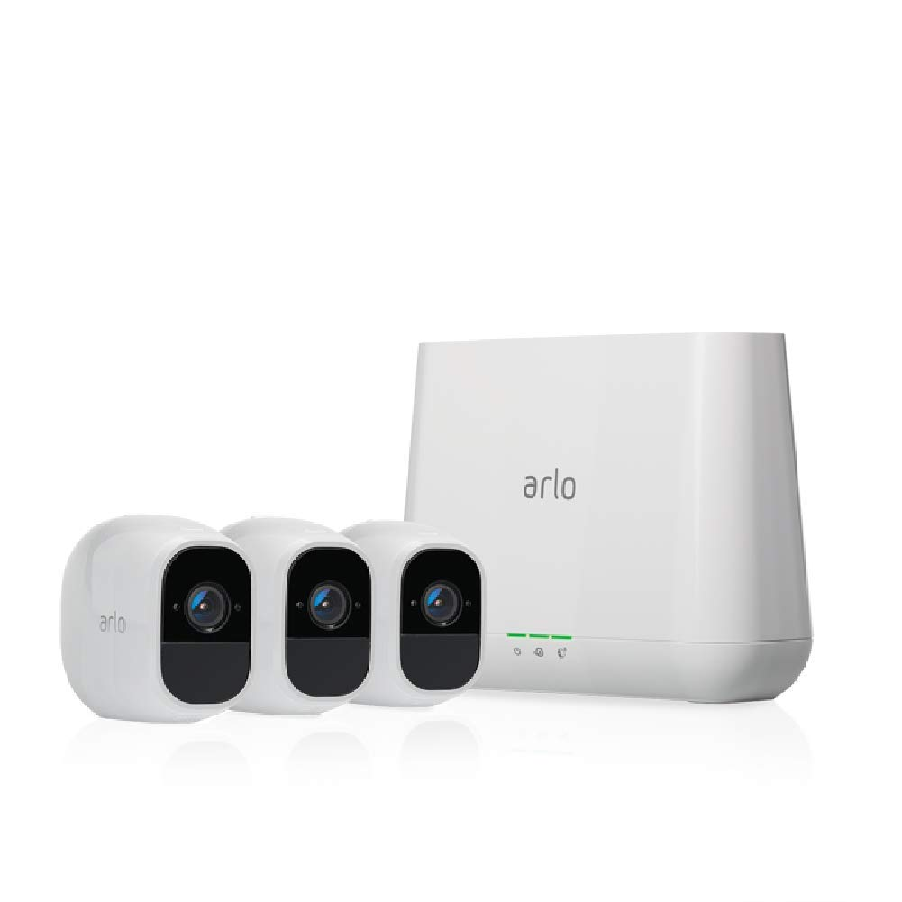 Arlo Pro 2 - Wireless Home Security Camera System with Siren   Rechargeable, Night vision, Indoor/Outdoor, 1080p, 2-Way Audio, Wall Mount   Cloud Storage Included   3 camera kit (VMS4330P)