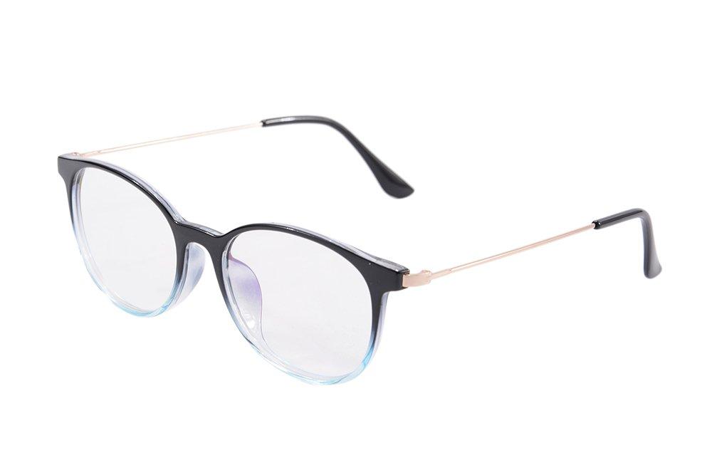 SHINU Horn Rimmed Round Frame Anti Blue Ray Reading Glasses Multifocal Readers Computer Eyeglasses-SH015 (Transparent Black, 150/425)