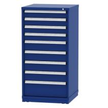 "Borroughs Eye Level Blue Modular Cabinet with 9 Drawers/140 Compartments, 30"" W x 29 1/4"" D x 59"" H"