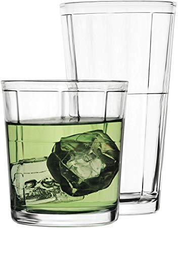 Circleware 40198 Boardwalk Huge 12-Piece Glassware Set of 6-15.75 oz & 6-12.5 oz Drinking Glasses and Whiskey Cups, Highball Beverage Tumbler for Water, Beer, Juice, Ice Tea, 12pc, Clear