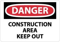 NMC D404AB DANGER - CONSTRUCTION AREA KEEP OUT Sign - 14 in. x 10 in. Aluminum Danger Signage, Black/White Text on White/Red Base