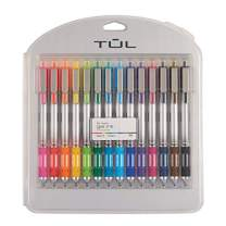 TUL Retractable Gel Pens, Bold Point, 1.0 mm, Silver Barrel, Assorted Ink Colors, Pack of 14 Pens