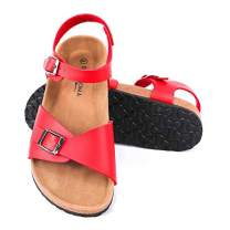 Seranoma Women's Comfort Cork Double Strap Sandal | Secure Adjustable Ankle Strap | Flat Footbed | Ladies Classic Indoor/Outdoor Summer Sandal