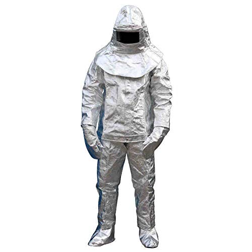 Fire Resistant Suit Thermal Radiation 1000 Degree Heat Resistant Aluminized Suit Fireproof Clothes Include 1 Coat+1 Pant+1 Helmet+1 Pair Glove+1 Pair Shoe Cover (Shipping from US)