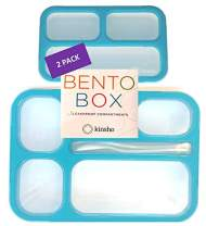 Bento-Box Lunch & Portion Control Snack Container Set, Leakproof Lunch-Boxes, Containers for Snacks School Meal Prep for Kids Boys Girls Adults, BPA Free. Accessories, Blue Large and MINI 2 pack