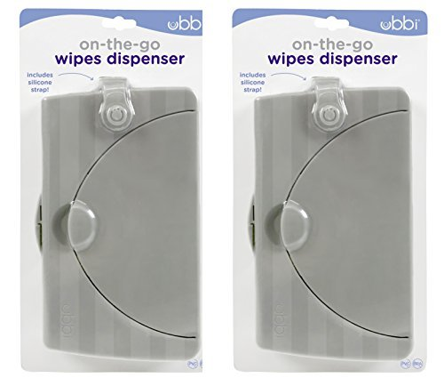 Ubbi On The Go Gray Wipe Holder Baby Gifts, Set of 2