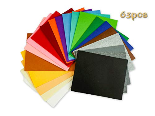 Woolous 63 pcs Felt Sheets,10X8 Inch(25.5X20.4cm) 21 Different Color, Non Woven Felt Fabric Patchwork Sewing Square DIY Craft 1mm Thick, It's The Best Gift for Nursery School Child