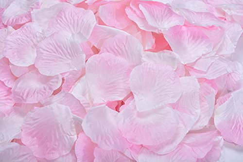 Magik 1000~5000 Pcs Silk Flower Rose Petals Wedding Party Pasty Table Decorations, Various Choices (3000, Sakura & White)