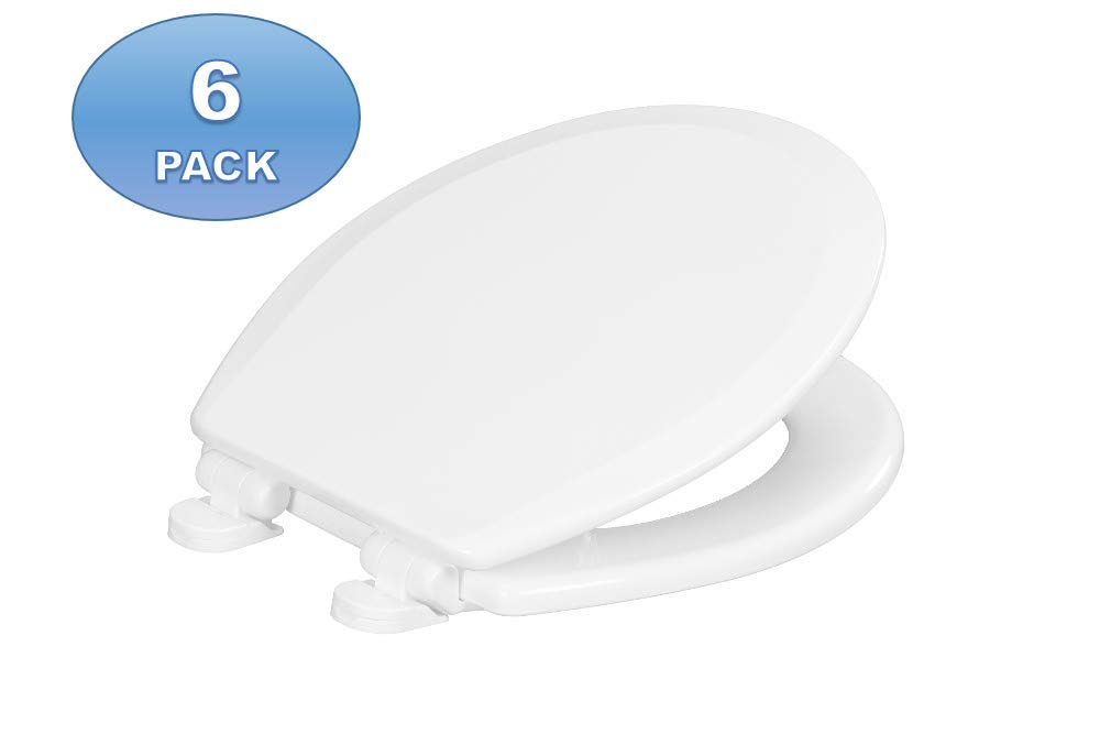 6 Pack - Centoco 700-001 Round Wooden Toilet Seat, Heavy Duty Molded Wood with Centocore Technology, White