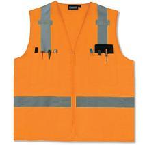 ERB 61212 S414 Class 2 Multi Pocket Surveyor Safety Vest, Orange, 3X-Large