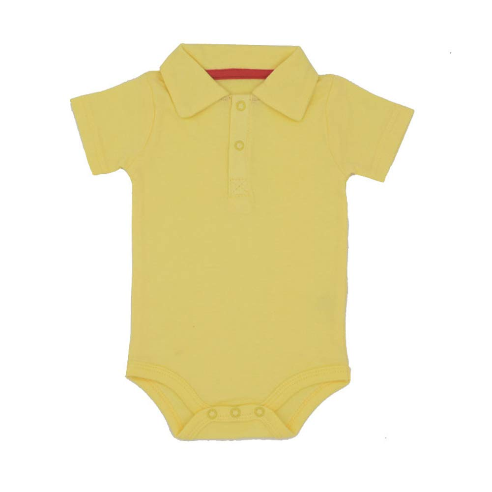 Baby Boys Pure Color Cotton Short Sleeve Polo Bodysuit 3-24 Months (24 Months, Yellow)