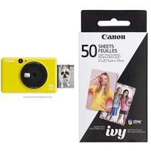 Canon IVY CLIQ Instant Camera Printer Mobile Mini Printe, Bumblebee Yellow with Canon ZINK Photo Paper Pack, 50 Sheets