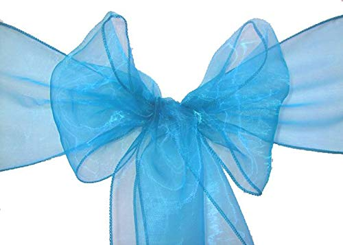 mds Pack of 100 Organza Chair sash Bow Sashes for Wedding and Events Supplies Party Decoration Chair Cover sash -Blue