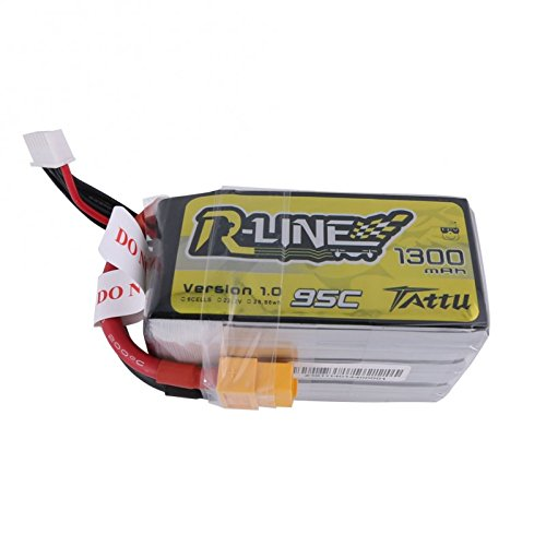 Tattu R-Line 22.2V 95C 1300mAh 6S LiPo Battery Pack with XT60 Plug for 450 Class Helicopters
