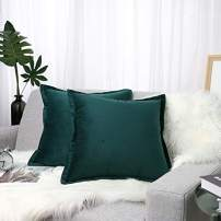 """Lewondr Velvet Throw Pillow Cover, 2 Pack Soft Solid Color Modern Square Pillow Case Throw Cushion Covers with Hem Stitch for Car Sofa Bed Home Decor, 18""""x18""""(45x45cm), Alpine Green"""