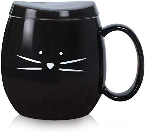 Koolkatkoo 14 oz Cute Ceramic Cat Coffee Mug with Lid for Cat Lovers Tea Cup Gift for Women Girls Black