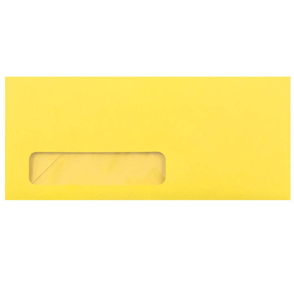 JAM PAPER #10 Business Colored Window Envelopes - 4 1/8 x 9 1/2 - Yellow Recycled - 50/Pack
