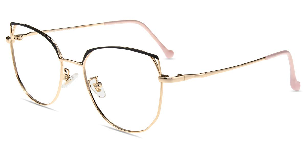 Firmoo Cat Eye Blue Light Blocking Glasses Women, Anti Glare, Reduce Headaches, Blue Light Filter Glasses for Computer Use (Black-Gold Frame)